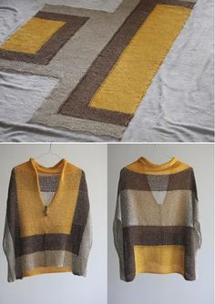 Knitting inspiration: sheer fabric color blocks not my colours but easy peasy style.