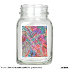 Mason Jar Colorful Stained Glass