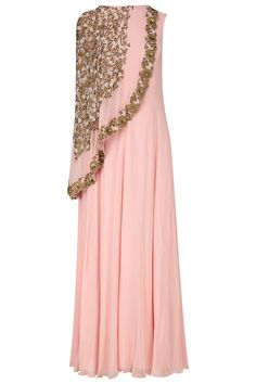 Baby pink floral embroidered cape tunic available only at Pernia's Pop Up Shop.