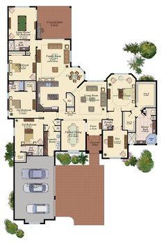 single-story, 4 split ensuite beds, 1/2 bath, formal living and dining,study,  game room, 3-car attached garage, cover outdoor living areas
