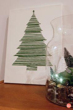 DIY Kerstschilderij van wol