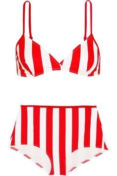 Solid and Striped - The Brigitte Striped Bikini - Red - medium