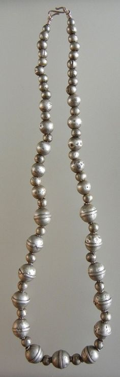 Necklace of nicely constructed antique silver beads from Afghanistan.