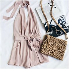 **** Let Stitch Fix style you today! Loving this gorgeous blush pink romper with bow detail. Could be dressed up or down! Love the beautiful crochet purse and fun sunnies! Stitch Fix Spring, Stitch Fix Summer, Stitch Fix Fall 2016 2017. Stitch Fix Spring Summer Fall Fashion. #StitchFix #Affiliate #StitchFixInfluencer