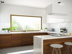 Nowoczesna kuchnia w bieli i drewnie z dekoracyjnym pochłaniaczem kuchennym Tudara White marki GLOBALO ze szkła hartowanego.