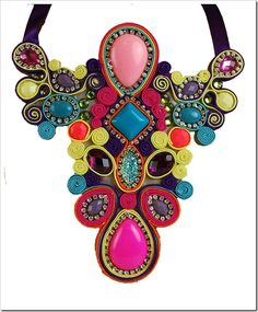 Now that's a statement necklace! Diy Jewelry, Jewelery, Jewelry Necklaces, Jewelry Design, Jewelry Making, Soutache Jewelry, Bijou Box, Maxi Collar, Choker