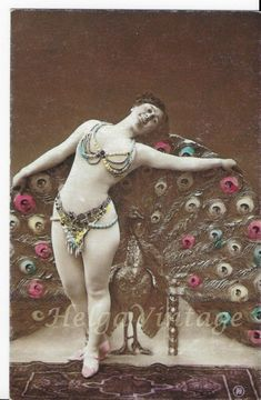 Antique, erotic hand-tinted photo-postcard, lady with peacock cca. Photo Postcards, Vintage Postcards, Peacock, Erotic, Princess Zelda, Nude, Antiques, Artist, Photos