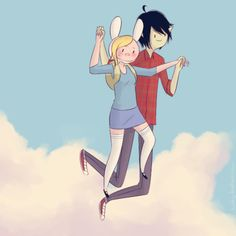 Marshal Lee and Fionna flying. So cute! #adventuretime