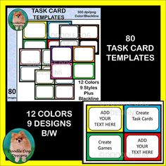 TASK CARD TEMPLATES for your products, games, etc..... 80 images, 12 colors, 9 designs. #taskcards, #doodledogdesigns