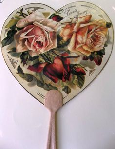 Victorian Paper Wedding Paddle Hand Fan