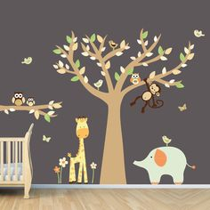 Baby Nursery Zoo Animal Wall Decal Decorating Room Decals Ideas Kid Playroom Walls How To Art For Kids Rooms Bedroom Wall Decor Design Your Own Decorate Nursery Ornament Your Nursery or Children Room with Animal Wall Decals Wall Stickers Animals, Animal Wall Decals, Vinyl Wall Decals, Animal Bedroom, Tree Decals, Wall Decor Design, Cartoon Wall, Kids Bedroom, Bedroom Wall