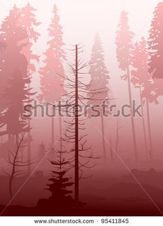 Mist in the forest in red tone. - stock vector