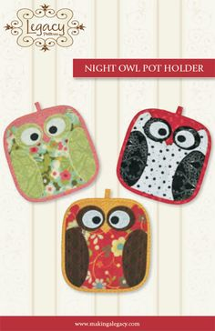 Pot Holders Pattern Night Owls by Legacy by GabbysQuiltsNSupply, $8.50