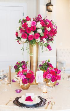 Hot pink and gold: http://www.stylemepretty.com/virginia-weddings/charlottesville/2015/03/16/elegant-pink-purple-wedding-inspiration-at-trump-winery/ | Photography: Allison Hopperstad - www.allisonhopperstad.com