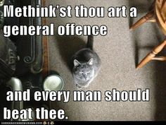 """Methink'st thou art a general offence and every man should beat thee. Shakespeare Insults, Shakespeare Quotes, Haha Funny, Lol, Funny Stuff, Best Insults, Important Quotes, Every Man, Poetry Quotes"