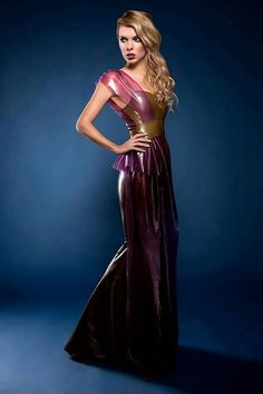 Flowing olive and purple latex dress with peplum would be ideal for a formal event.. DIY the look yourself: http://mjtrends.com/pins.php?name=purple-latex-for-dress,jpg