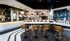 #Interior of #Heston's new restaurant at #Heathrow T2. The Perfectionist's Cafe, designed by #AfroditiKrassa #HospitalityDesign