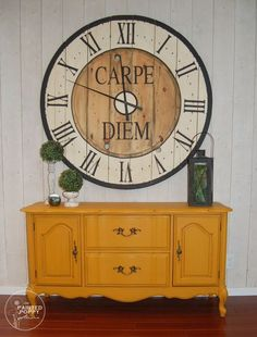 French Provincial furniture makeover in mustard.