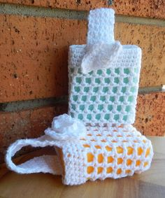 Crocheted #soap holders.  IMAGE ONLY