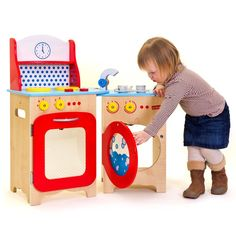 This stroke of genius toy design gives you double the fun in half the space! There's a cooker, sink and washing machine for eager kitchen hands, but folds in half when it's time to tidy up. It's a full size kitchen play set that's super easy to store!