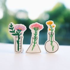 Floral Science Brooches by andsmile on Etsy