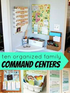 Create the Hidden Kitchen Command Center. organized family command centers at Remodelaholic Organization Station, Clutter Organization, Home Organisation, Office Organization, Organizing Ideas, White Board Organization, Command Center Kitchen, Family Command Center, Command Centers
