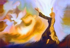 Woman worshiping the Lord praising God, Holy Spirit Dove prophetic art painting.