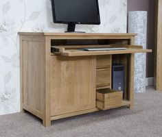 Hidden Computer Desk - Perfect to hideaway all your study items. Delivered  Fully Assembled 2 Sliding Doors Pull Out Keyboard Drawer 3 Internal Storage  ...