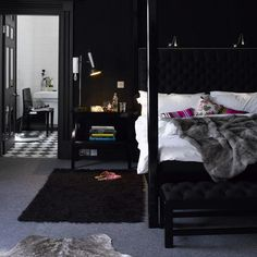 black + grey bedroom