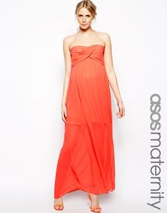 Image 1 of ASOS Maternity Bandeau Maxi Dress With Detachable Straps