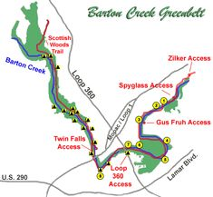 Barton Creek Greenbelt - entered through Spyglass near Taco Deli. More entries listed at bottom of website.