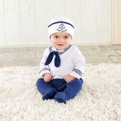 He'll be ship-shape for his nightly voyage to the Sea of Big Dreamzzz in Baby Aspen's Baby Sailor 2-Piece Layette baby gift set. Personalization will promote this baby boy gift set to admiral of the fleet!  http://timelesstreasure.theaspenshops.com/big%20dreamzzz-baby-sailor-2-piece-layette-set.html