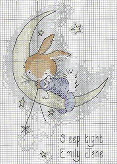 Cross stitch sleepy bunny on moon Baby Cross Stitch Patterns, Cross Stitch For Kids, Cute Cross Stitch, Cross Stitch Bird, Cross Stitch Animals, Cross Stitch Charts, Cross Stitch Designs, Cross Stitching, Cross Stitch Embroidery