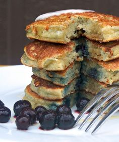 Almond meal Pancakes with Blueberries & Coconut