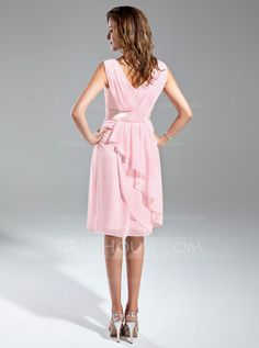 A-Line/Princess V-neck Knee-Length Chiffon Charmeuse Mother of the Bride Dress With Ruffle Sash (008015554) - JJsHouse