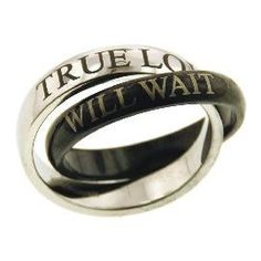 Christian Women's Stainless Steel Abstinence Black & Silver True Love Will Wait Chastity Purity Ring for Girls: Jewelry: Amazon.com