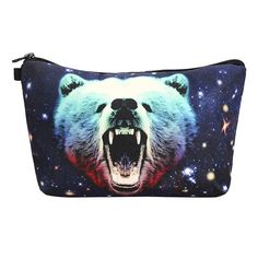 3D Starry Sky Bear Makeup Bag Animal Cosmetic Handbag with Zipper Lady Travel