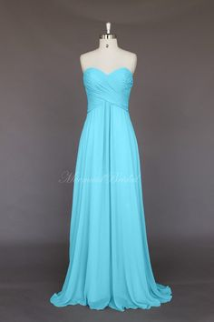 Simple+style+Chiffon+Long+Bridesmaid+Dress,++wedding+party+dress+With+Sweetheart+Neckline