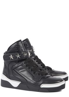 Givenchy black leather hi-top trainers Silver star studding, Velcro strap, quilted heel, perforated round toe Lace-up front This style runs true to size RRP: £645.00 (harvey nichols)