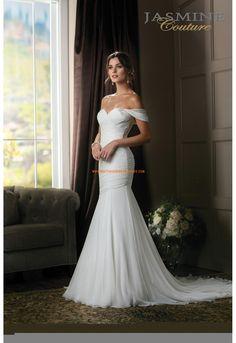 Robe de mariée sirène mousseline col en coeur avec bretelles perlées