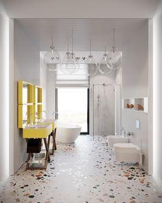 Colorful And Bright Bathroom Decor Ideas For Kids - Childrens Bathroom, Bright Bathroom, Bathroom Interior Design, Unusual Bathrooms, Trendy Bathroom, Terrazzo, Modern Bathroom Design, Contemporary Bathrooms, Bathroom Decor