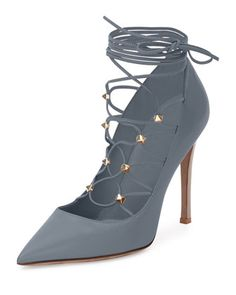 Rockstud Leather Lace-Up 105mm Pump, Stone/Poudre by Valentino at Neiman Marcus.