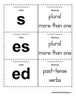 Suffix Flash Cards Word List - Have Fun Teaching