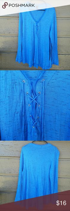 Plus New Directions Blue Laced-Front Top This color is amazing. Modern laced front Excellent condition  Feel free to ask me any additional questions! Bundles 3+ 15% off. No trades, or modeling. Happy Poshing! new directions Tops