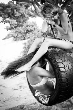 truck tyre swing | summer fun | bikini babe | black & white photography | swinging | friends | girlfriends | buddies | friendship