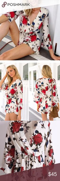"""Floral VNeck Wrap Cinched Waist Ruffle Romper New Floral VNeck Wrap Cinched Waist Drawstring Ruffle Romper. Runs true to size. Polyester/cotton blend material.                                                                         Small – 35"""" bust / 24""""-30"""" waist / 31"""" length Medium – 36"""" bust / 24""""-30"""" waist / 32"""" length Large – 37"""" bust / 26"""" -32"""" waist / 33"""" length Bundle and get 20% off your entire purchase. Pants Jumpsuits & Rompers"""