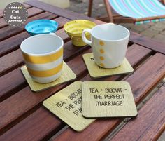 Set of by CutOutsProductDesign on Etsy Tea Biscuits, Perfect Marriage, Coasters, Mugs, Tableware, Etsy, Dinnerware, Cups, Drink Coasters