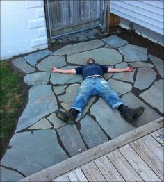 No exaggeration, we've laid two flagstone patios in our backyard in the past 30 days. Resourceful, yes. Pergola Patio, Diy Patio, Backyard Patio, Patio Ideas, Outdoor Ideas, Backyard Landscaping, Pergola Ideas, Outdoor Spaces, Outdoor Walkway