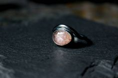 READY TO SHIP Rose Cut Pink Sapphire Oxidized Sterling Silver Ring - Size 7 - Gugma Jewelry