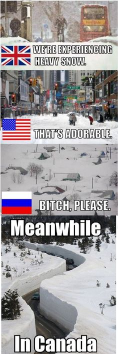 Snow around the world.  Canada wins.